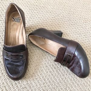 SOFFT Brown Leather and Cow Hair Heeled Loafers